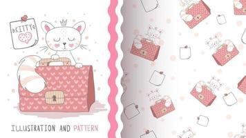 Funny cartoon character animal cat with suitcase - seamless pattern vector