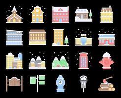 Winter City flat vector icon set