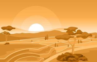 amanecer dorado en la ilustración de campo de arroz asiático vector