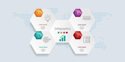 Infografía abstracta, 4 pasos para negocios y presentación. vector