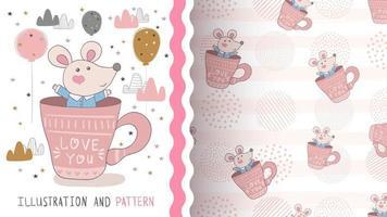 personaje de dibujos animados infantil animal ratón en la taza vector