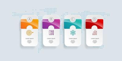 Infografía horizontal abstracta, 4 pasos para negocios y presentación. vector
