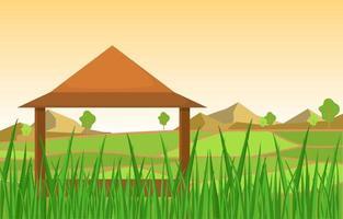 Hut in Asian Rice Field Illustration vector