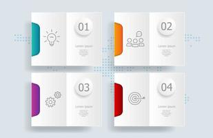 Infografía abstracta, 4 pasos con mapa del mundo para negocios y presentaciones. vector