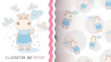 adorable personaje de dibujos animados animal hipopótamo con nubes vector