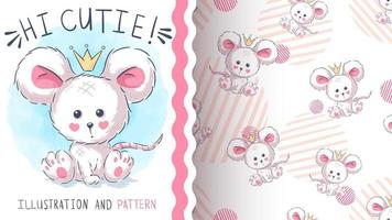 Teddy cartoon character mouse - seamless pattern vector