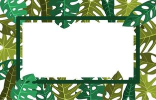 Tropical Frame Background with Monstera Leaves around Border vector