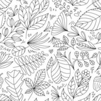Cute vector summer hand drawn leaf seamless pattern. Print with leaves. Elegant beautiful monoline nature ornament for fabric, wrapping and textile. Scrapbook black and white paper