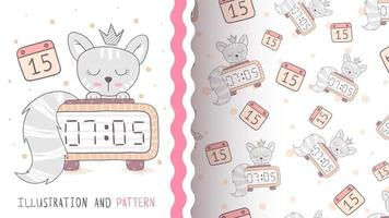 Funny cartoon character animal cat - seamless pattern vector