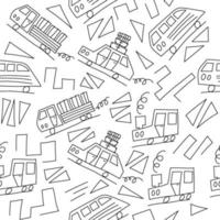 Doodle monoline cars background. Seamless baby boy pattern in vector. Texture for wallpaper, fills, web page background vector