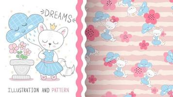 Cute cartoon character animal cat with cloud - seamless pattern vector
