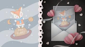 personaje de dibujos animados infantil animal en el planeta vector