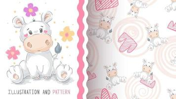 Cute cartoon character animal hippo - seamless pattern vector