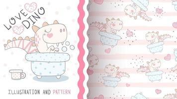Dino animal personaje de dibujos animados infantil en el baño - patrón sin costuras vector