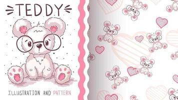 Cute teddy cartoon character bear - seamless pattern vector