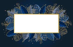 plantilla de fondo rectangular azul con borde de hoja de planta tropical vector