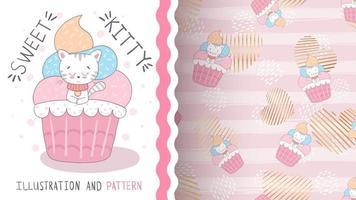 Cute cartoon character animal kitty in cake - seamless pattern vector