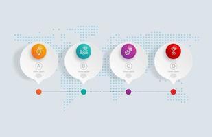 Infografía de línea de tiempo horizontal abstracta, 4 pasos con mapa del mundo para negocios y presentación vector