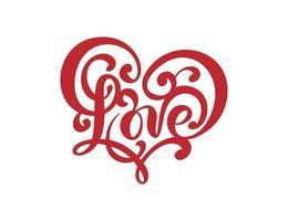 logotipo de vector escrito a mano texto rojo corte con láser amor y corazón tarjeta de feliz día de San Valentín, cita romántica para diseño de tarjeta de felicitación, tatuaje, invitación de vacaciones