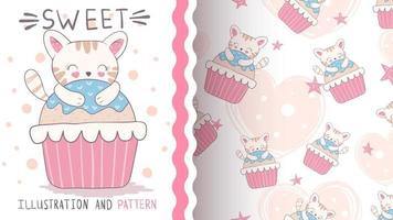 Pretty cartoon character animal cat with cake - seamless pattern vector