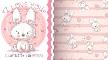 Easter cartoon character animal bunny - seamless pattern vector