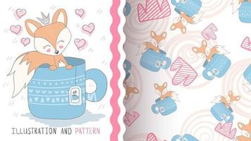 Cute cartoon character animal fox in a cup, seamless pattern vector