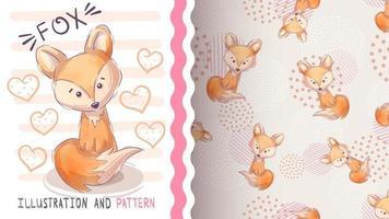 personaje de dibujos animados infantil animal zorro de patrones sin fisuras vector
