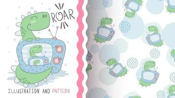 Cartoon character animal dino with tv - seamless pattern vector