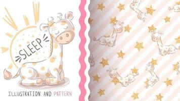 Personaje de dibujos animados infantil animal jirafa - patrón sin costuras vector