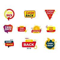 Set cashback loyalty program concept. Credit or debit card with returned coins to bank account. Refund money service design. Bonus cash back symbol vector illustration