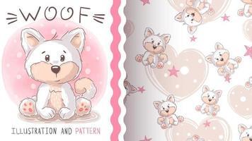 teddy cartoon character animal dog husky. Hand Draw vector