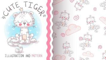 adorable personaje de dibujos animados animal tigre vector