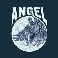 roca en la ilustración de vector de ángel
