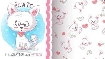 Bonito personaje de dibujos animados gato animal con gafas vector