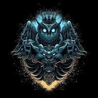 Owl and lion head premium vector illustration