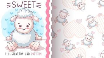 personaje de dibujos animados infantil animal oveja vector