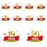 Year Anniversary Set Vector Template Design Illustration