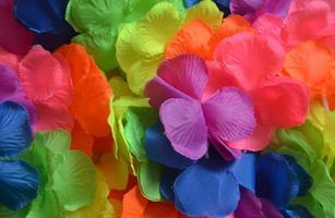 Artificial lei in rainbow colors
