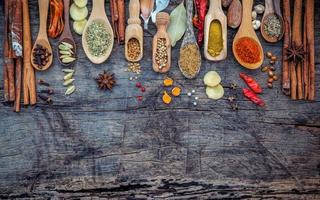 Spoons with herbs and spices photo