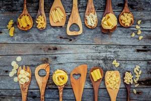 Pastas in wooden spoons