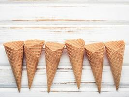 Waffle cones on a shabby white background