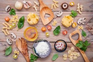 Top view of Italian food