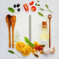 Italian ingredients and a notebook
