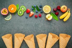 Fruit and waffle cones