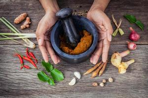 Hands with a mortar and pestle and spices photo