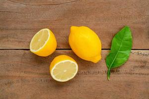Top view of fresh lemons