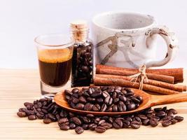 configuración de café en madera