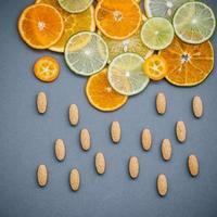 Sliced citrus fruit and almonds