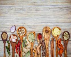 Spices and herbs with spoons photo
