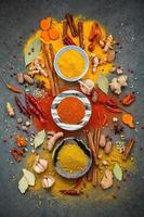 Top view of colorful spices on a gray background